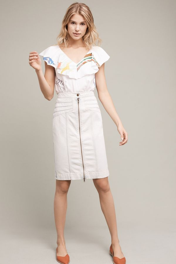 Pilcro Seamed Denim Pencil Skirt