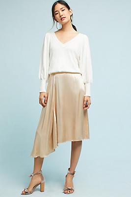 Slide View: 1: Satin Asymmetrical Skirt