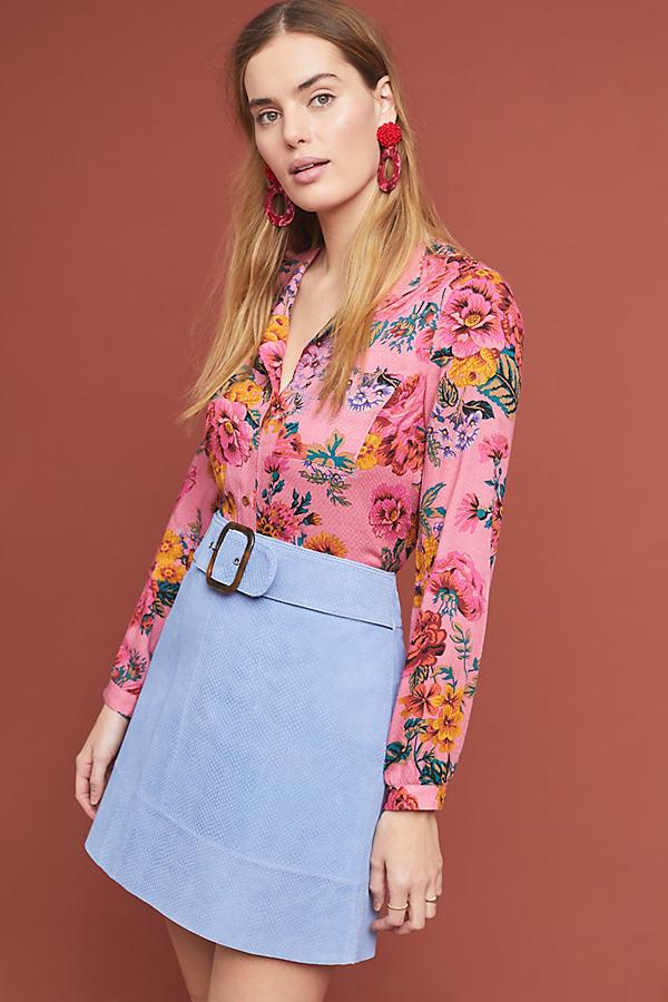 Snake-Printed Leather Mini Skirt - Purple, Size Uk 6