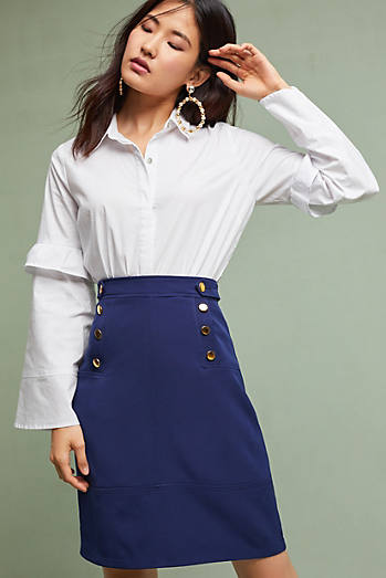 Buttoned Pencil Skirt