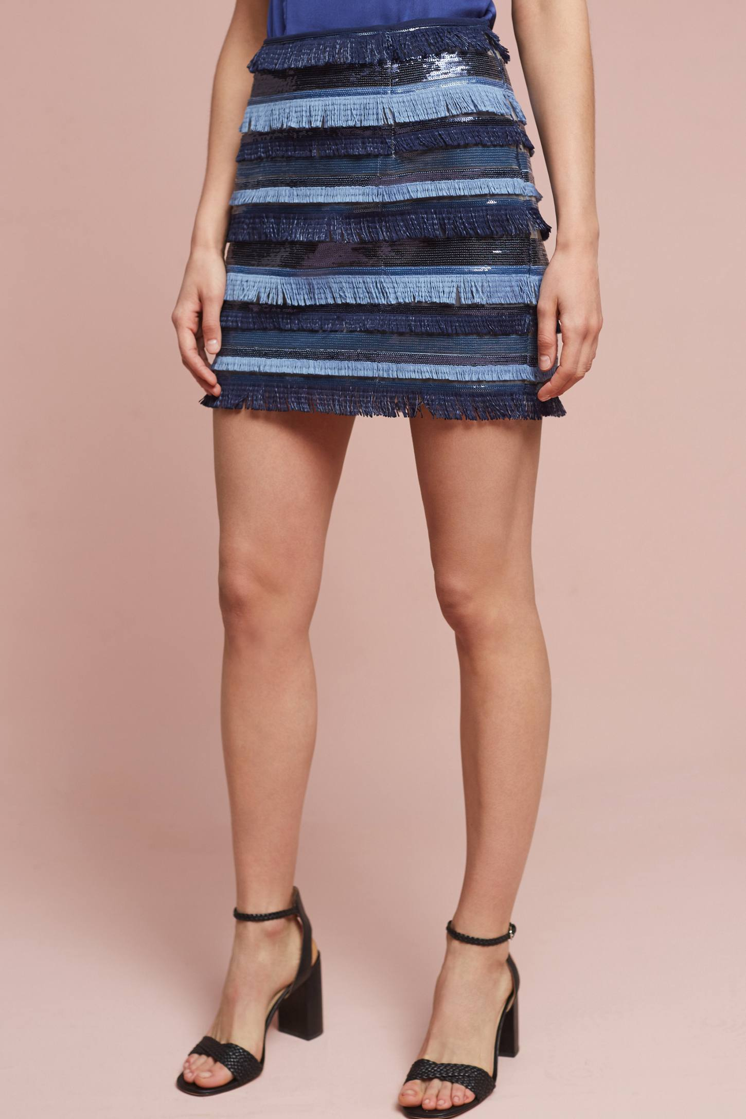 Slide View: 2: Waves Fringed Mini Skirt