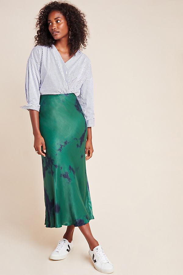 Althea Tie-Dyed Satin Bias Skirt - Assorted, Size Uk 10