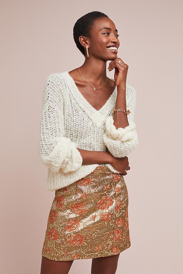 Brocade Skirt - Gold, Size Uk 12