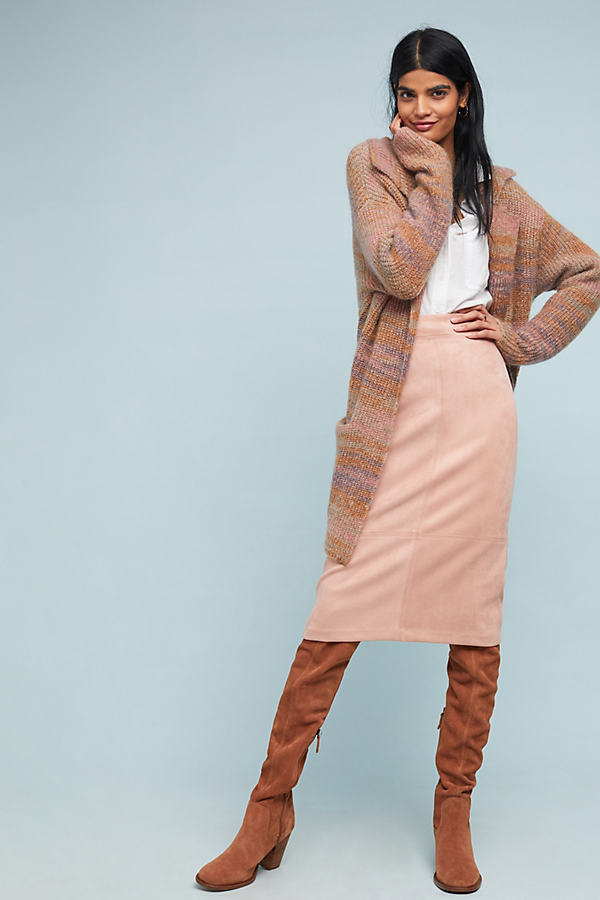 Faux-Suede Midi Skirt - Pink, Size Uk 6
