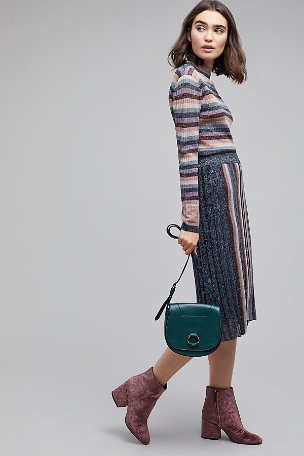 Puja Metallic Knit Stripe Skirt - A/s, Size Uk12