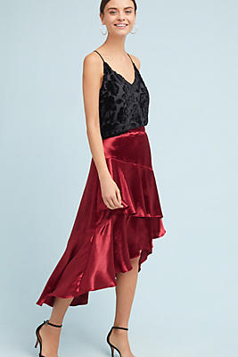 Slide View: 1: Tiered Satin Maxi Skirt