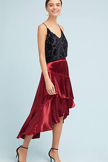 Tiered Satin Maxi Skirt