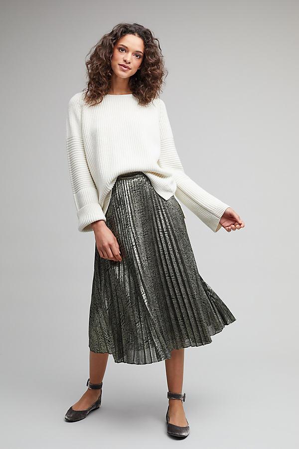 Nadine Snake Print Pleated Metallic Skirt - Grey, Size Uk 16