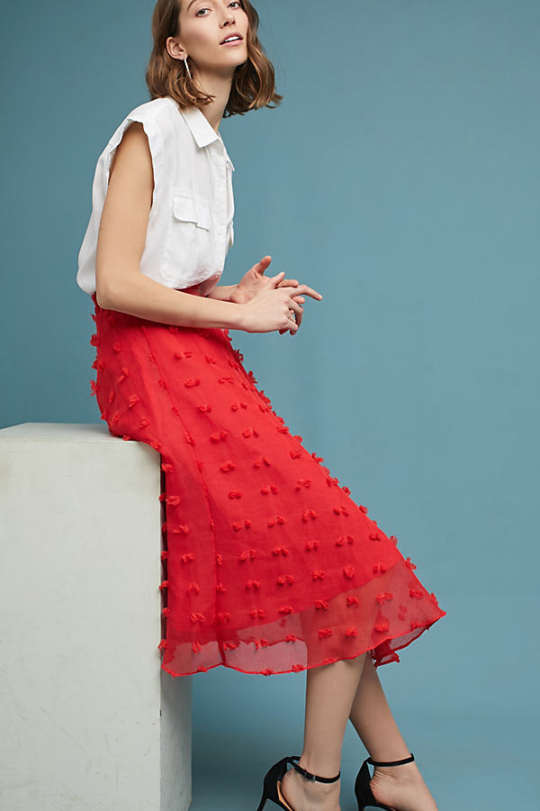 Marlow Textured Midi Skirt - Red, Size Xs