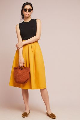 Golden A Line Skirt by Anthropologie