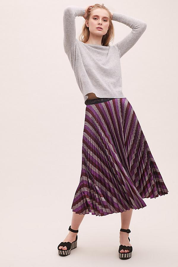 Beatrice B Metallic-Pleated Maxi Skirt - Purple, Size Xs