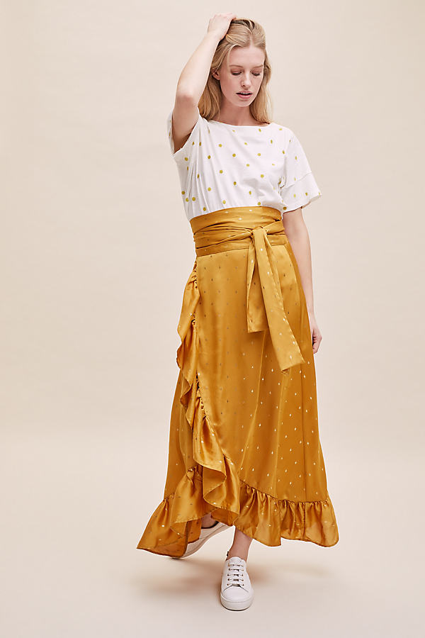 Amby Ruffled-Wrap Skirt - Yellow, Size L