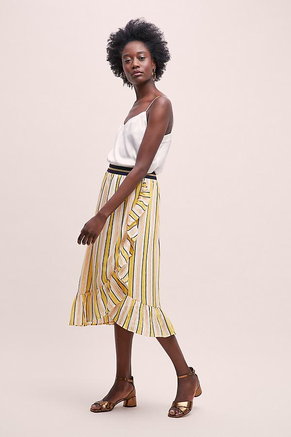 Perla Striped-Ruffled Skirt - Assorted, Size Xs