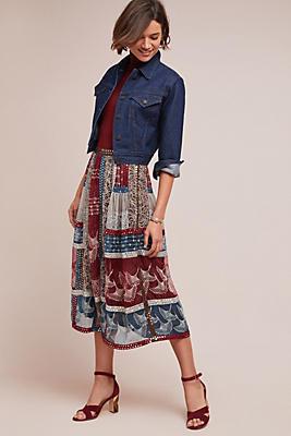 Slide View: 1: Beaded Patchwork Silk Skirt