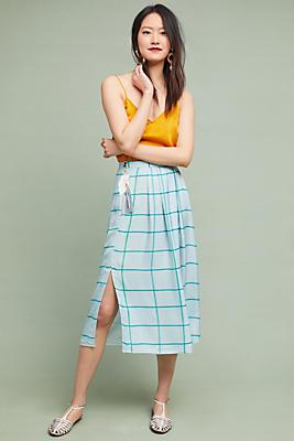 Slide View: 1: Windowpane Wrap Skirt