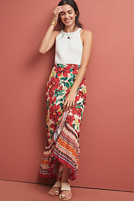 Slide View: 1: Farm Rio Wrapped Floral Skirt
