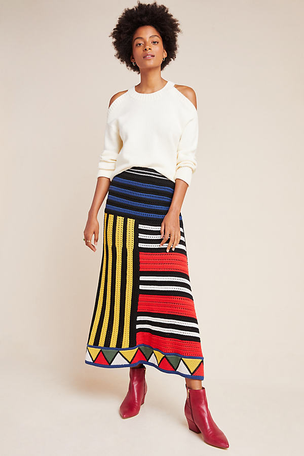 Farm Rio Miro Sweater Midi Skirt - Assorted, Size M