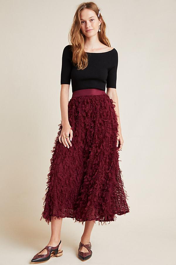 Davida Textured-Maxi Skirt - Purple, Size Uk 8
