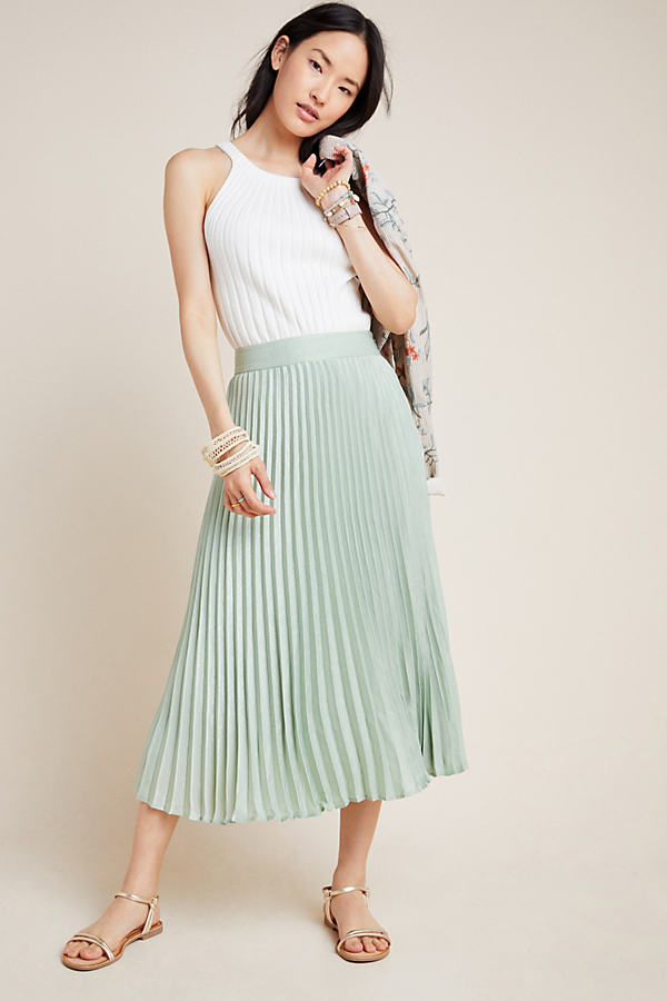 Sandy Pleated-Midi Skirt - Mint, Size Uk 6