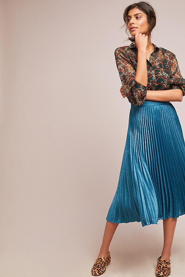 Coppelia Pleated Shine Skirt - Blue, Size Uk 6