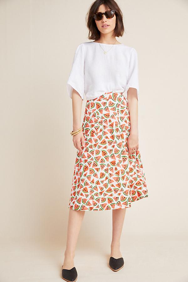 Colloquial Full Skirt - Red Motif, Size Uk 10