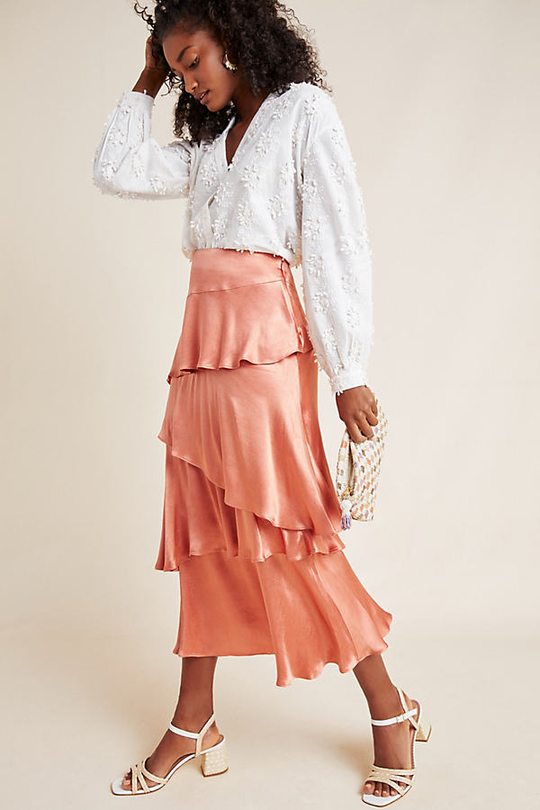 Cassia Tiered Maxi Skirt - Pink, Size Uk 12