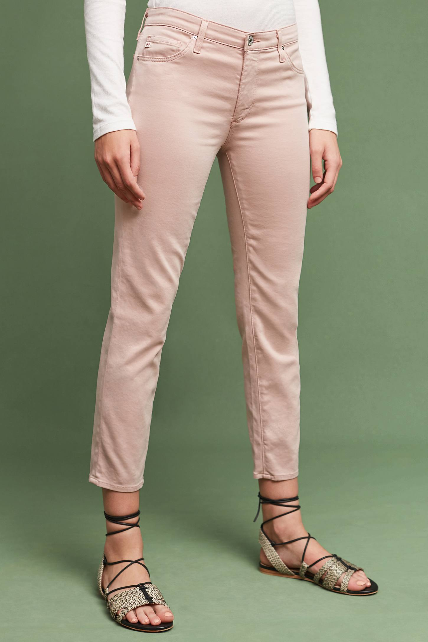 Slide View: 2: AG Prima Mid-Rise Sateen Skinny Ankle Jeans