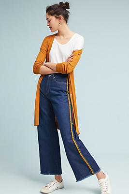 Slide View: 1: Athletic High-Rise Cropped Wide-Leg Jeans