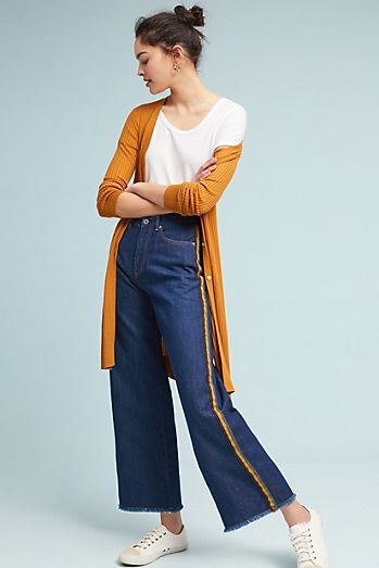 Athletic High-Rise Cropped Wide-Leg Jeans