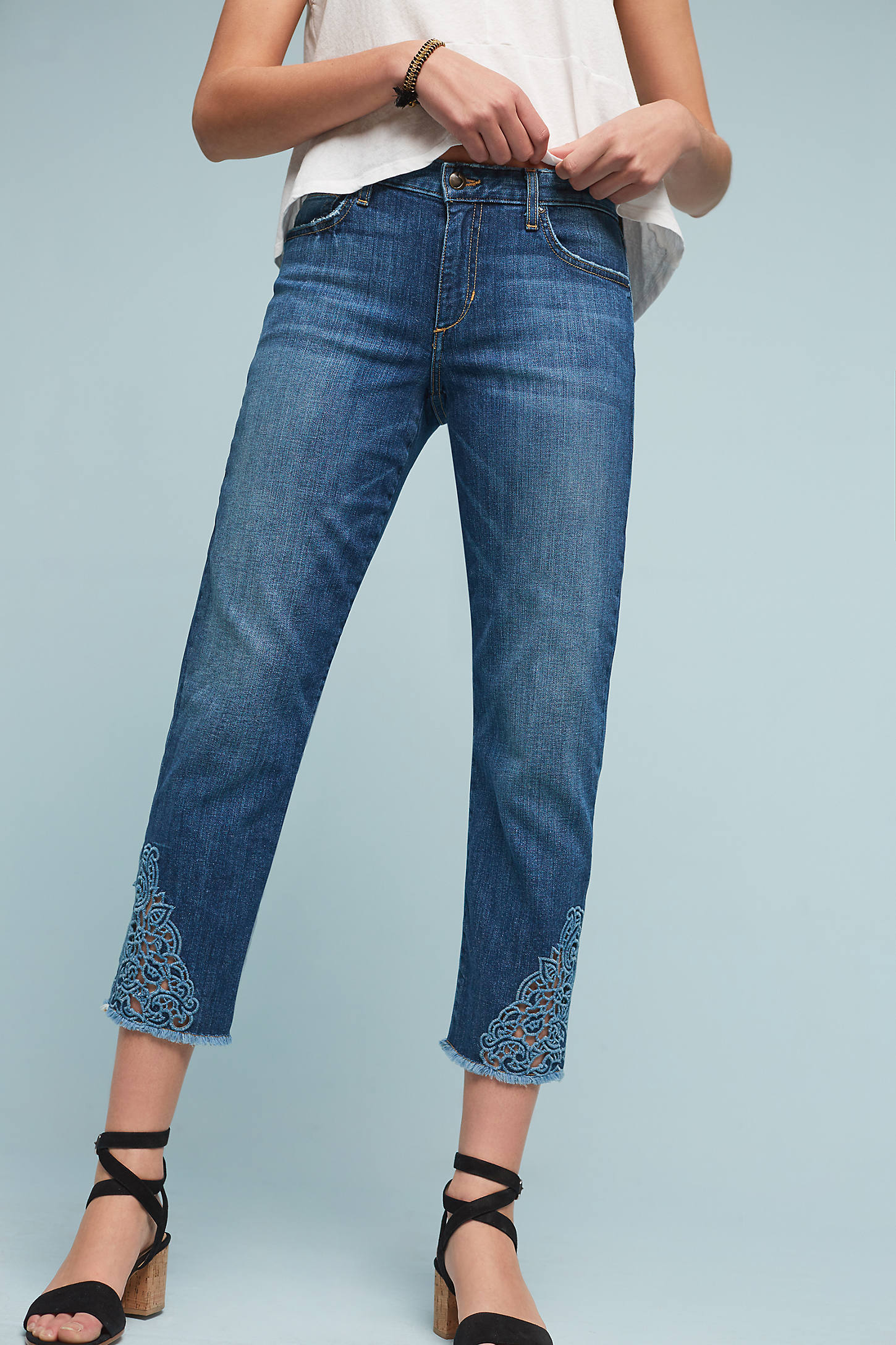 Joe's Smith Mid-Rise Embroidered Cropped Jeans