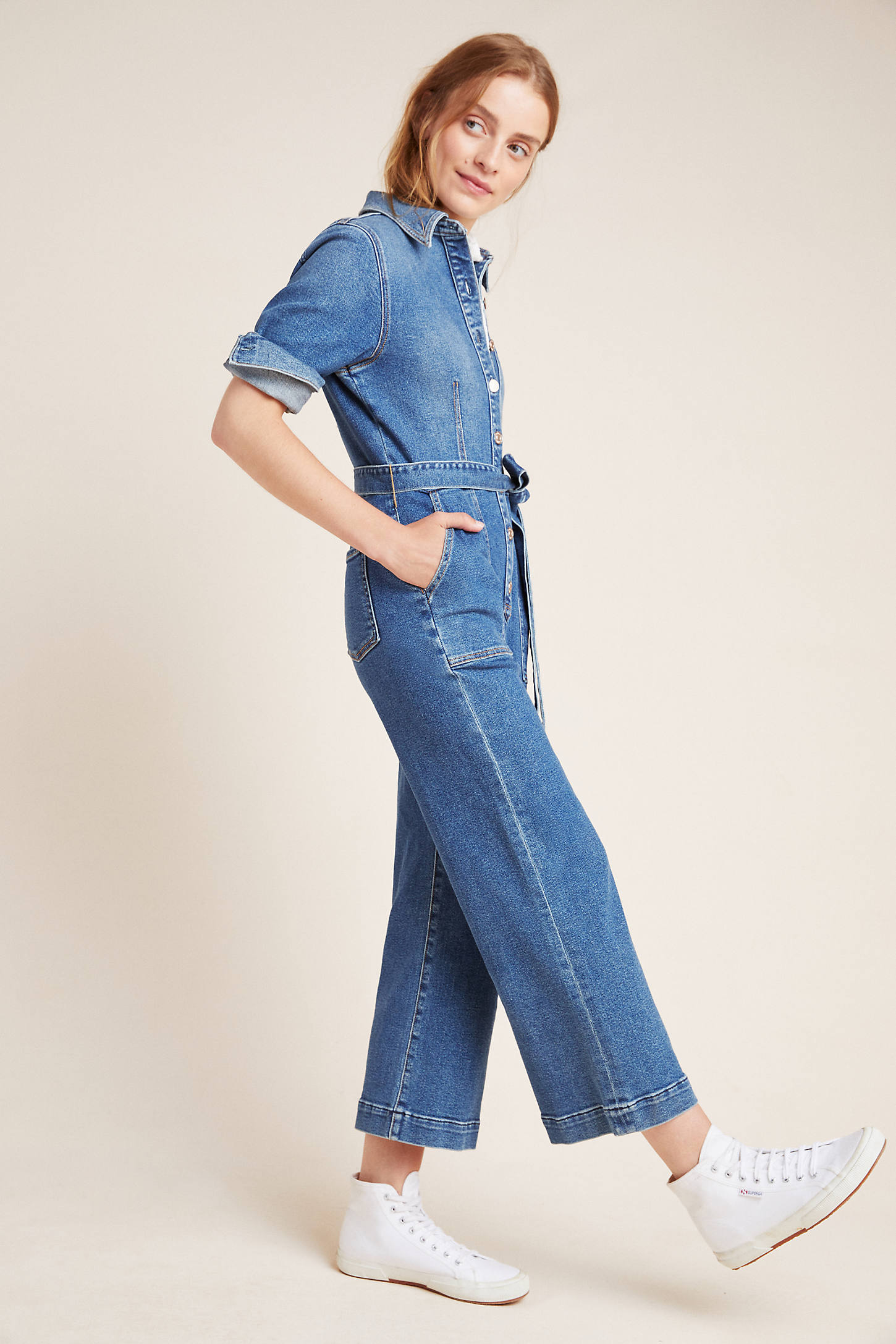 7 For All Mankind Alexa Cropped Denim Jumpsuit In Blue