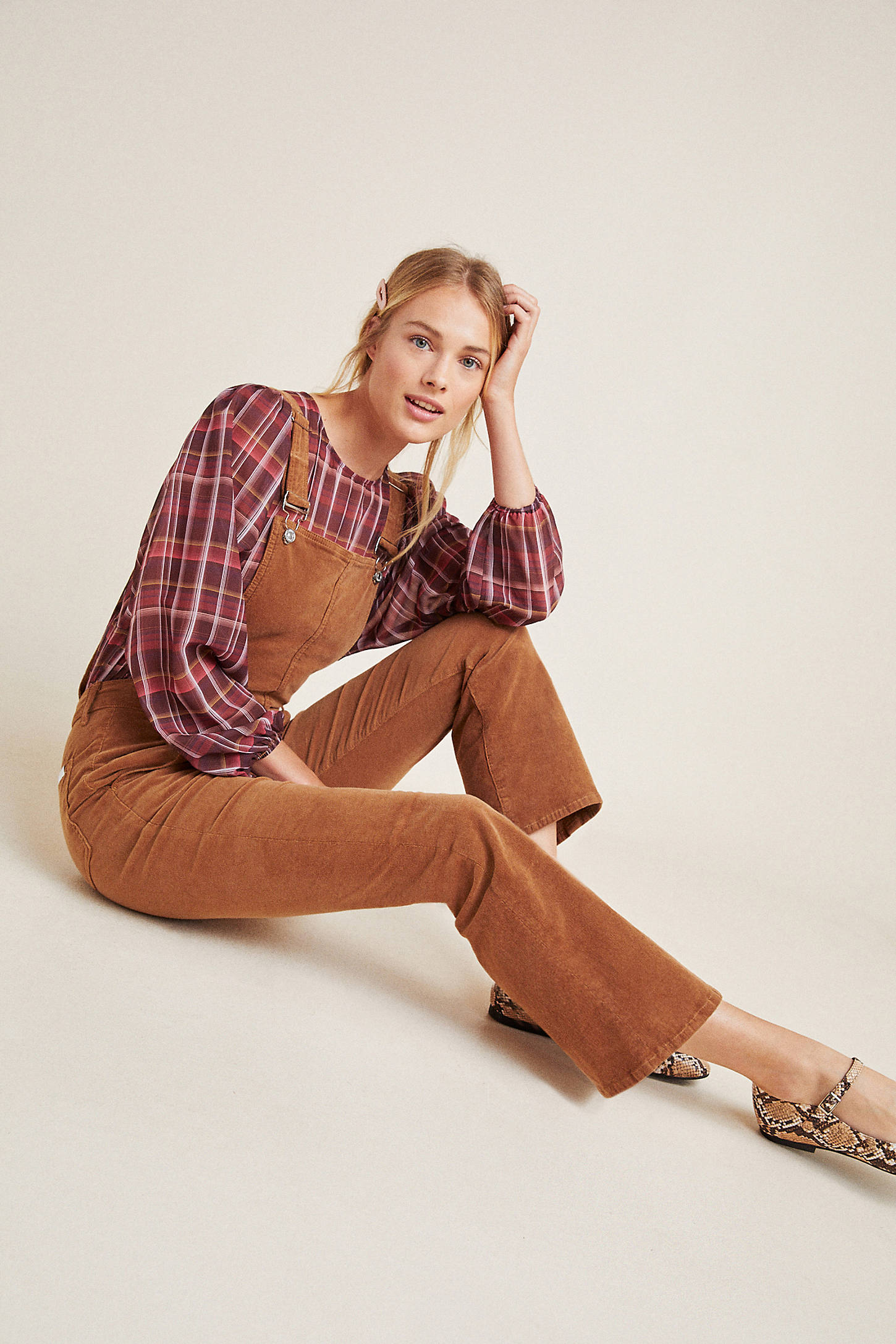 7 For All Mankind Roberta Kick Flare Corduroy Overalls In Yellow