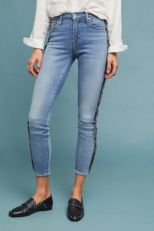 Slide View: 4: 7 For All Mankind Fringed Mid-Rise Skinny Ankle Jeans