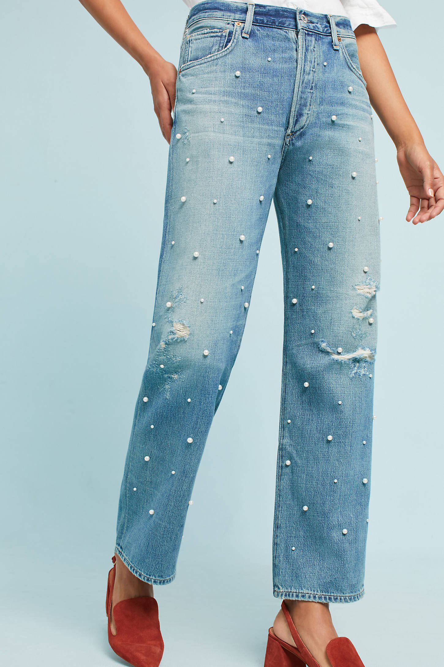 Citizens of Humanity Pearled Cora High-Rise Relaxed Crop Jeans