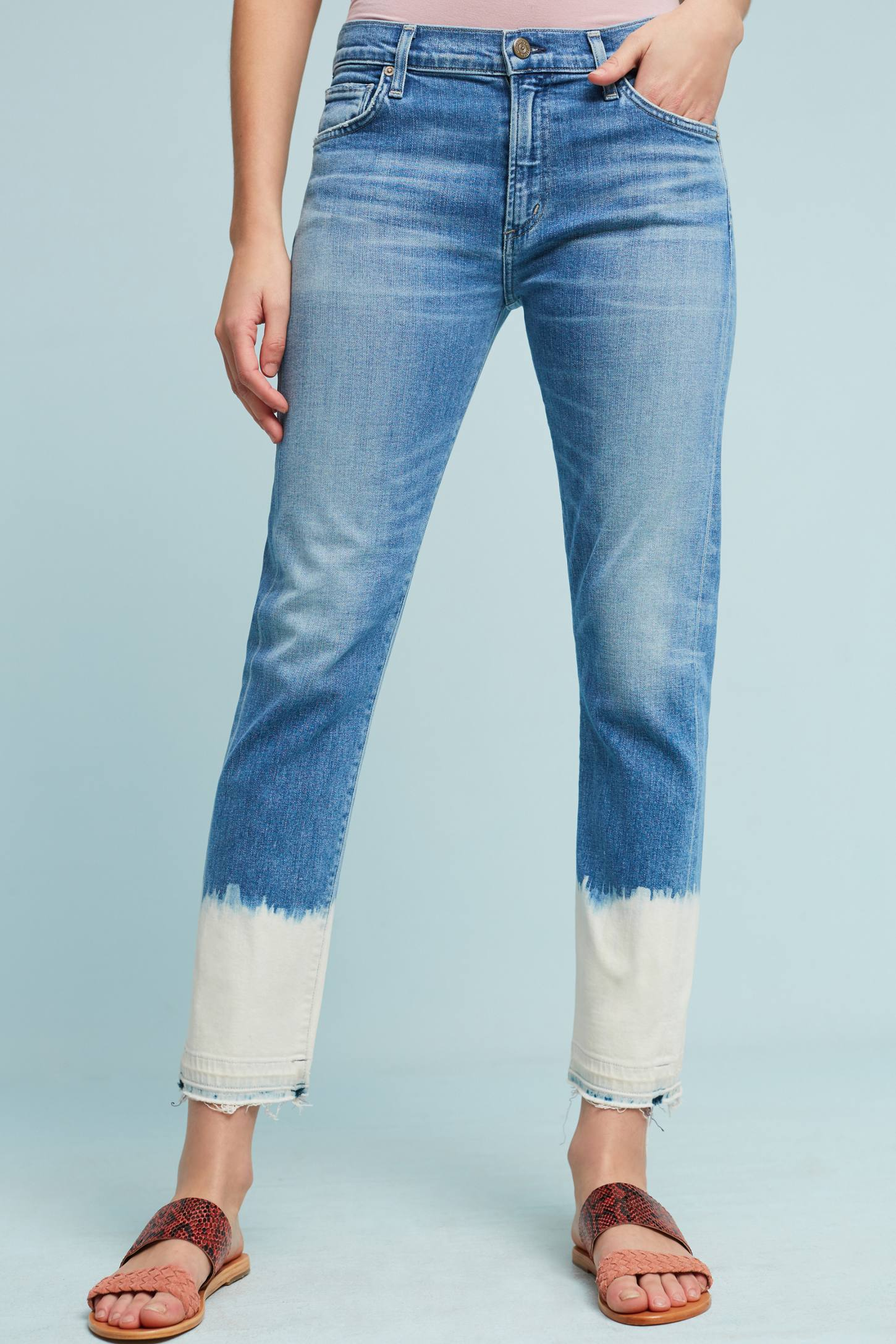 Slide View: 1: Citizens Of Humanity Agnes High-Rise Bleached Cropped Jeans