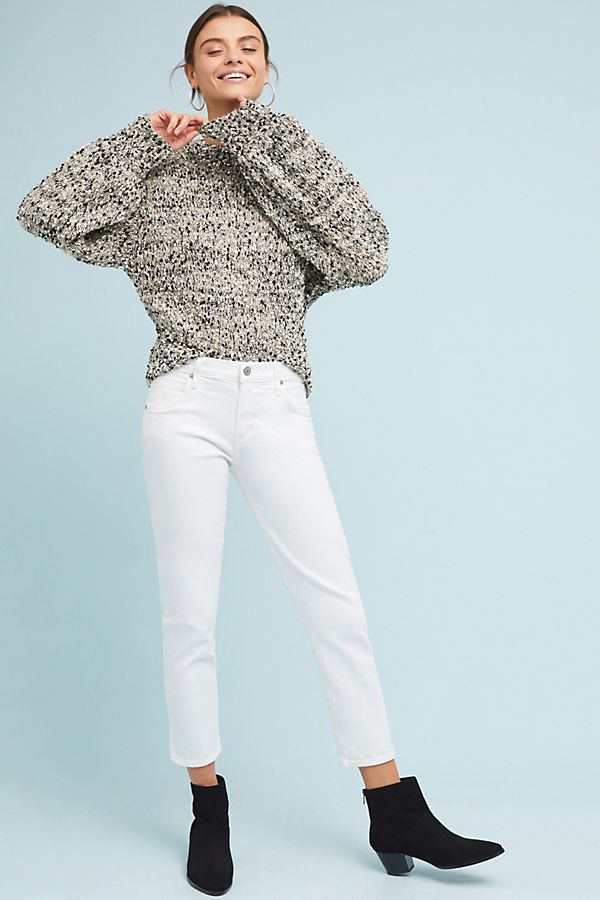 Citizens of Humanity Elsa Mid-Rise Slim Cropped white Jeans