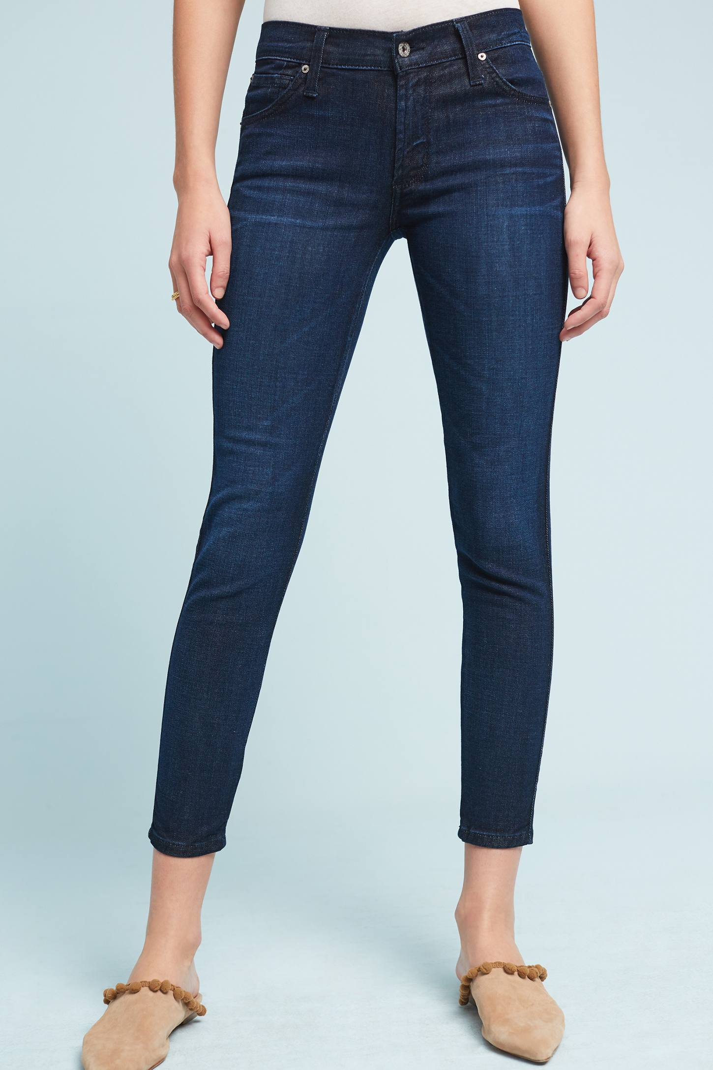 Slide View: 1: James Jeans Twiggy Mid-Rise Skinny Ankle Petite Jeans