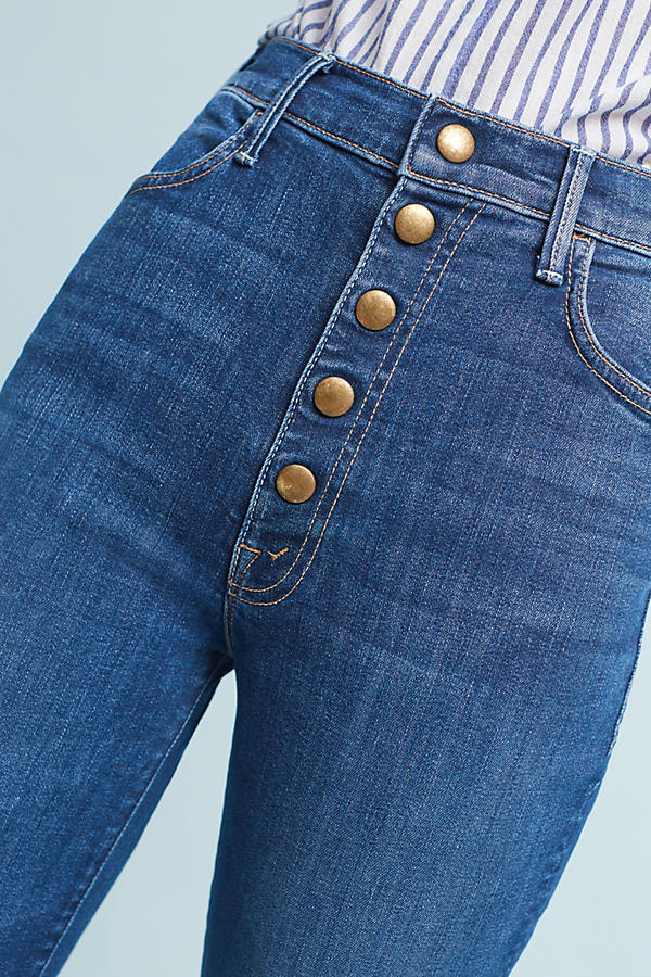 Slide View: 3: Mother The Hustler Snap Down Ultra High-Rise Jeans