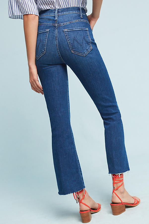 Slide View: 4: Mother The Hustler Snap Down Ultra High-Rise Jeans