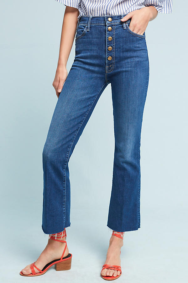 Slide View: 1: Mother The Hustler Snap Down Ultra High-Rise Jeans