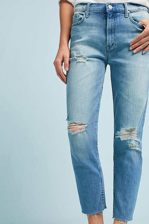 Slide View: 3: Mother The Sinner Frayed High-Rise Straight Jeans
