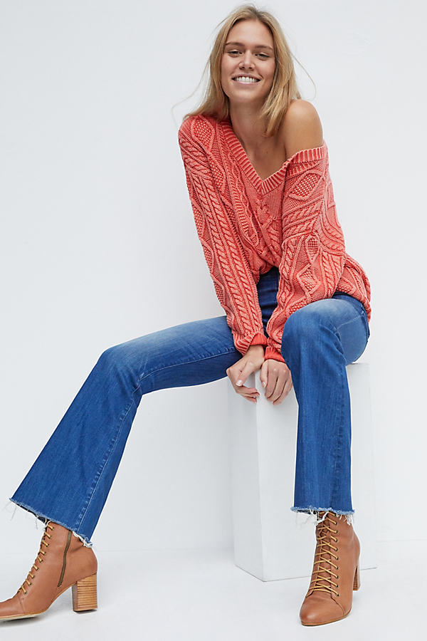 Mother MOTHER THE WEEKENDER HIGH-RISE FRAYED FLARE JEANS