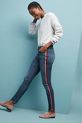 Slide View: 4: MOTHER The Looker High-Rise Striped Skinny Jeans