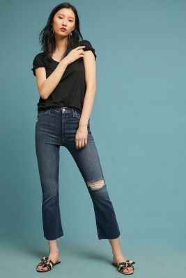 Mother The Hustler Ultra High Rise Frayed Ankle Jeans by Mother