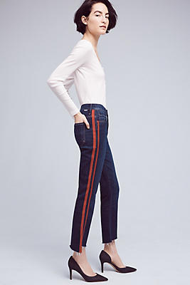 Slide View: 1: Mother Insider Crop Step Fray High-Rise High-Low Jeans
