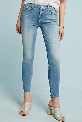 Mother - Looker Distressed Mid-rise Skinny Jeans - Light denim ...