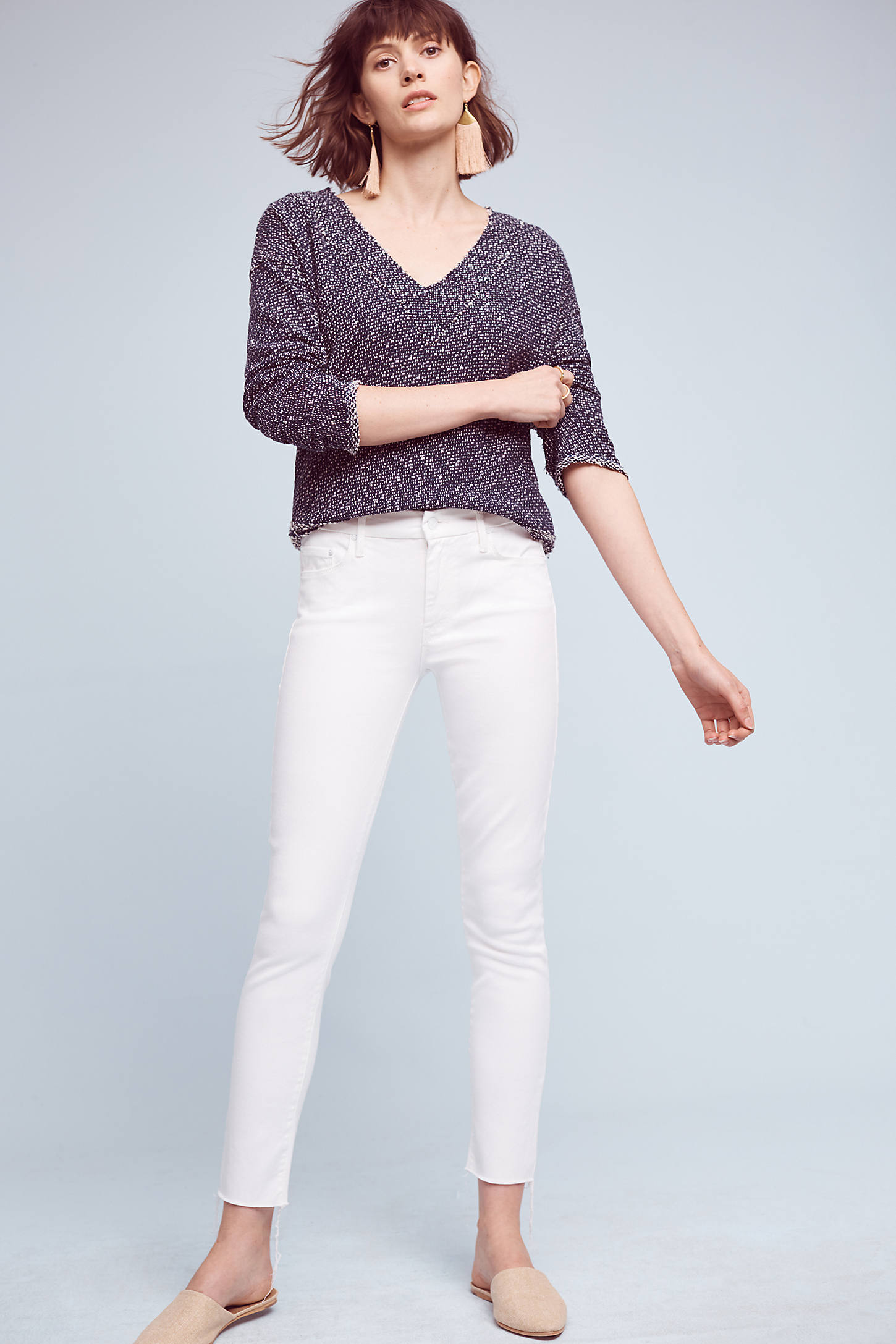Mother The High Waisted Looker High-Rise Ankle Fray Jeans