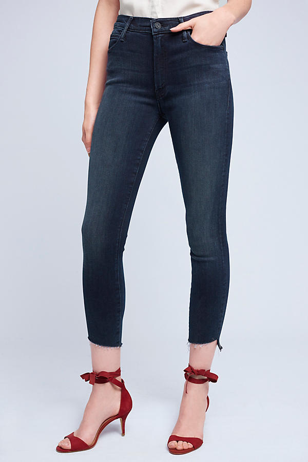Slide View: 3: Mother Stunner High-Rise High-Low Slim Jeans