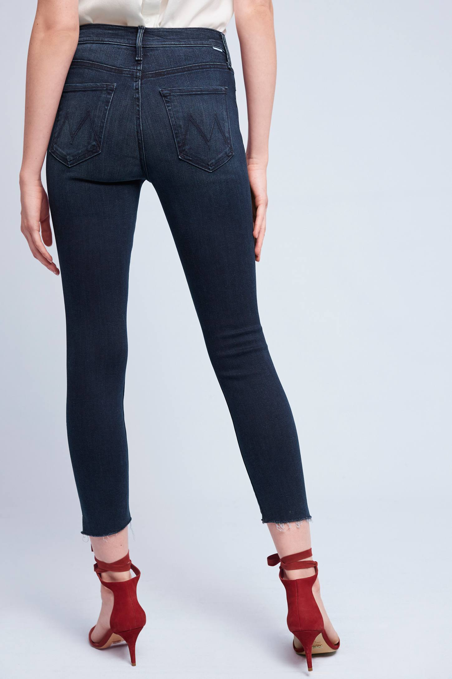 Slide View: 4: Mother Stunner High-Rise High-Low Slim Jeans