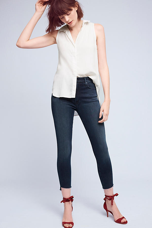Slide View: 1: Mother Stunner High-Rise High-Low Slim Jeans